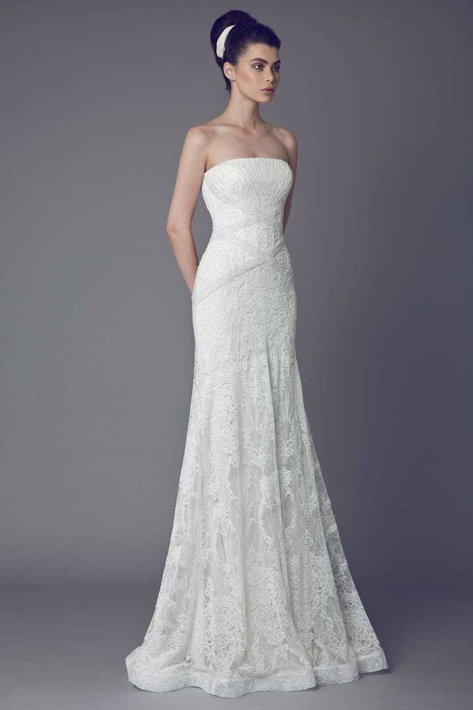 Molène - Off White strapless Lace gown with embroidered bodice and interlaced bands on the bust.