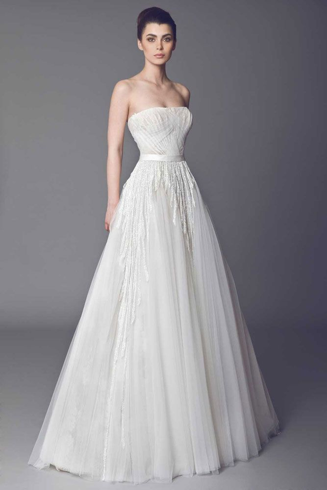 Azalea - Strapless Off White Lace and Tulle gown with Skin color base, a cascade of crystal bead embroideries and draped Tulle on the bust.