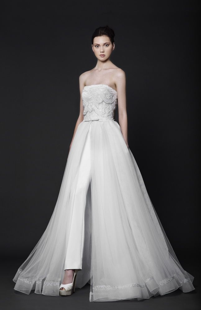 Off-White Moroccan Crepe pantsuit with a strapless ruffled Lace bust and a Tulle overlay skirt.