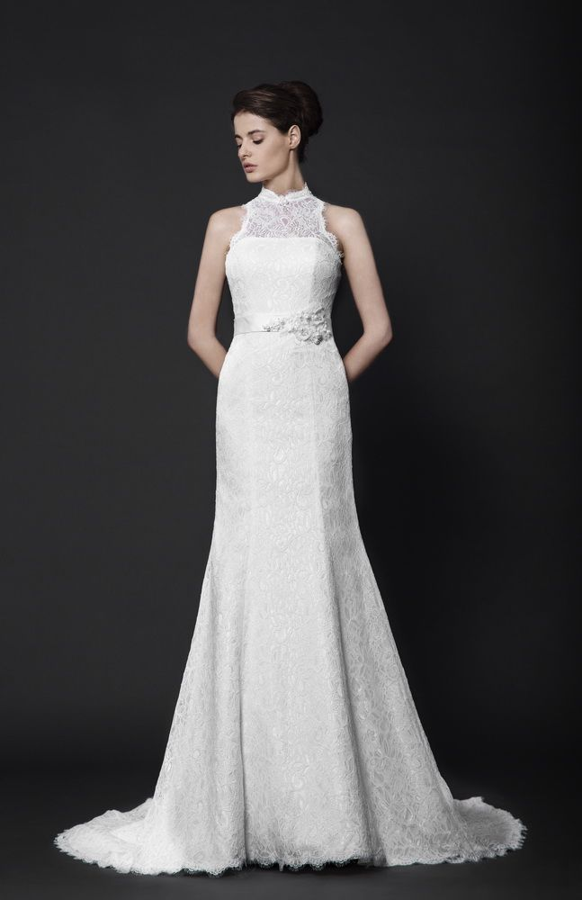Off-White A-line dress in embroidered Lace with halter neckline, embellished with applique detailing on the waistline.