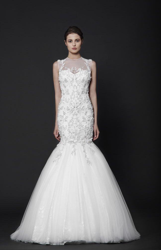 Off-White Mermaid gown in embroidered Tulle mixed with Lace, with sheer neckline.