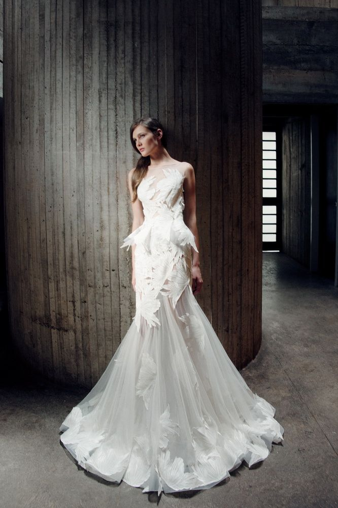 Off-White Mermaid Tulle dress with large Macramé flower appliques and a sheer neckline.