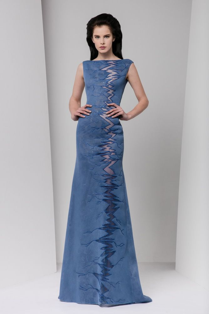 Steel blue sheath evening dress made of layers of embroidered tulle, featuring a vertical, zigzag cutout embellishment.