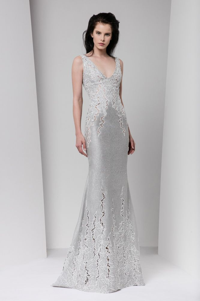 Silver gazar cloqué sheath dress featuring cutout embellishments, incrusted foil macramé and a V-neckline.
