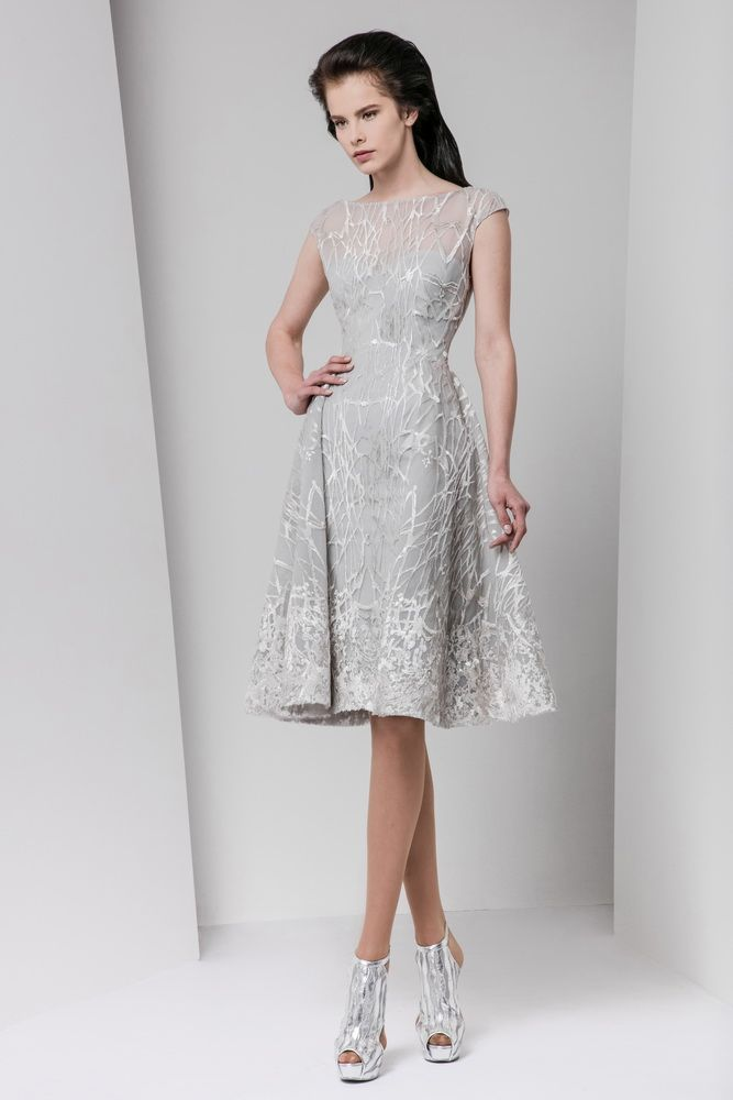 Silver knee-length dress in silk-embroidered tulle with an illusion neckline, cap sleeves and a pleated waist.