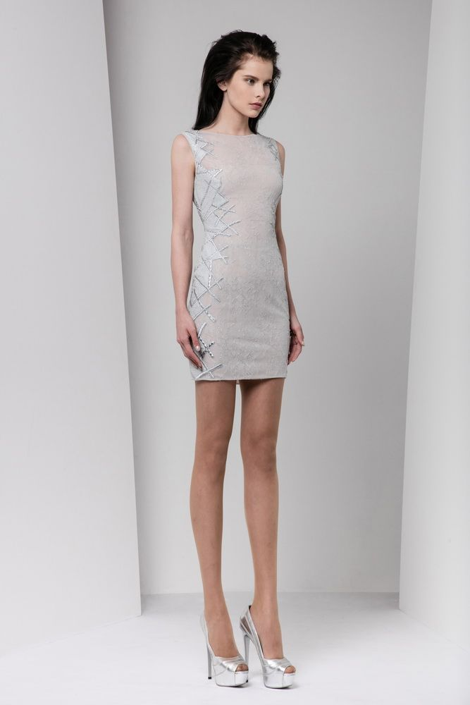 Short fitted silver lace dress embellished with lateral appliques embroideries defined by a silk thread crisscross contouring.
