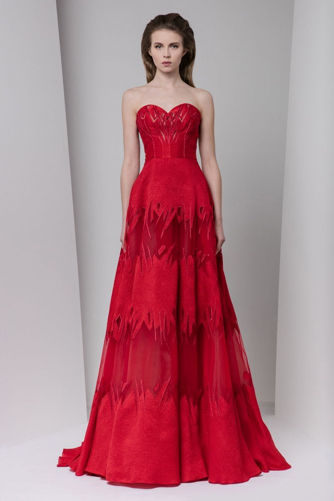 Crimson sweetheart A-line organza cloqué evening dress with cutout embellishments and silk embroidery.
