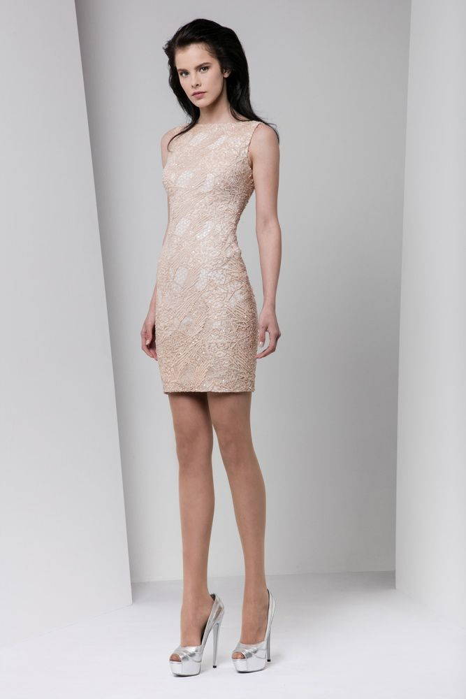 Short fitted blush dress in embroidered macramé with bateau neckline and sequin embellishments.