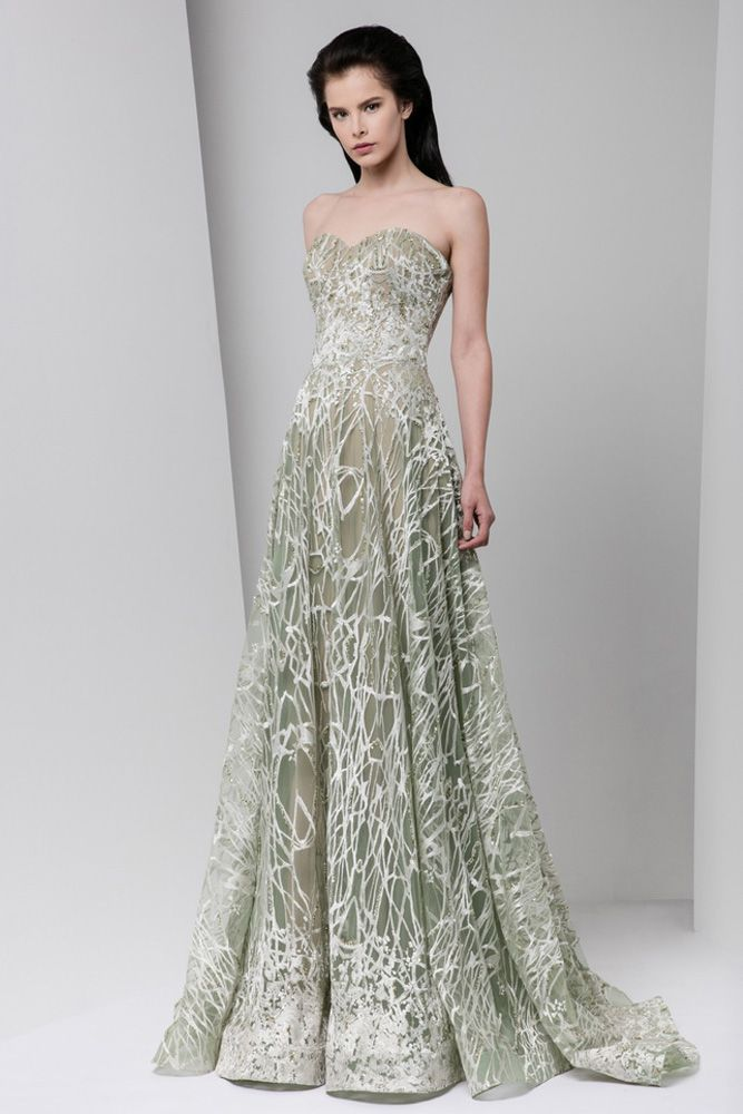 Olive green semi sweetheart A-line dress in silk embroidered tulle, with crystal embellishments.