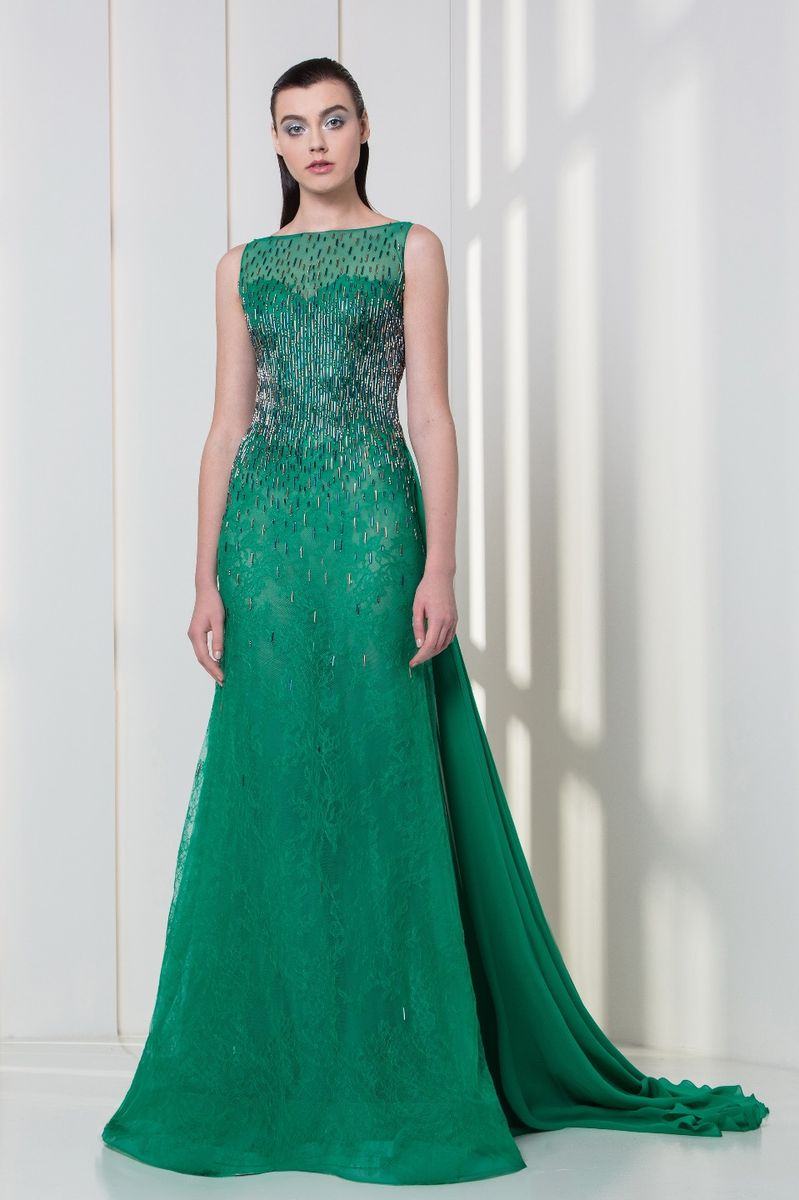 Emerald Georgette crepe and lace dress with linear crystal embroideries and a train.