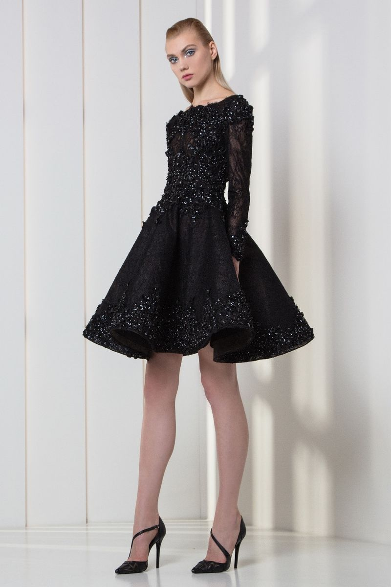 Charcoal black tulle and lace cocktail dress embellished with pearls and 3D laser-cut flowers embroidery.