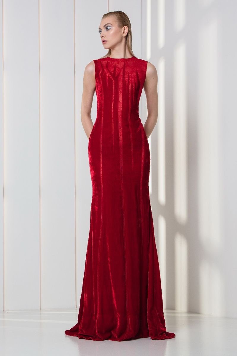 Cherry red lace and velvet dress featuring linear ascending shapes.