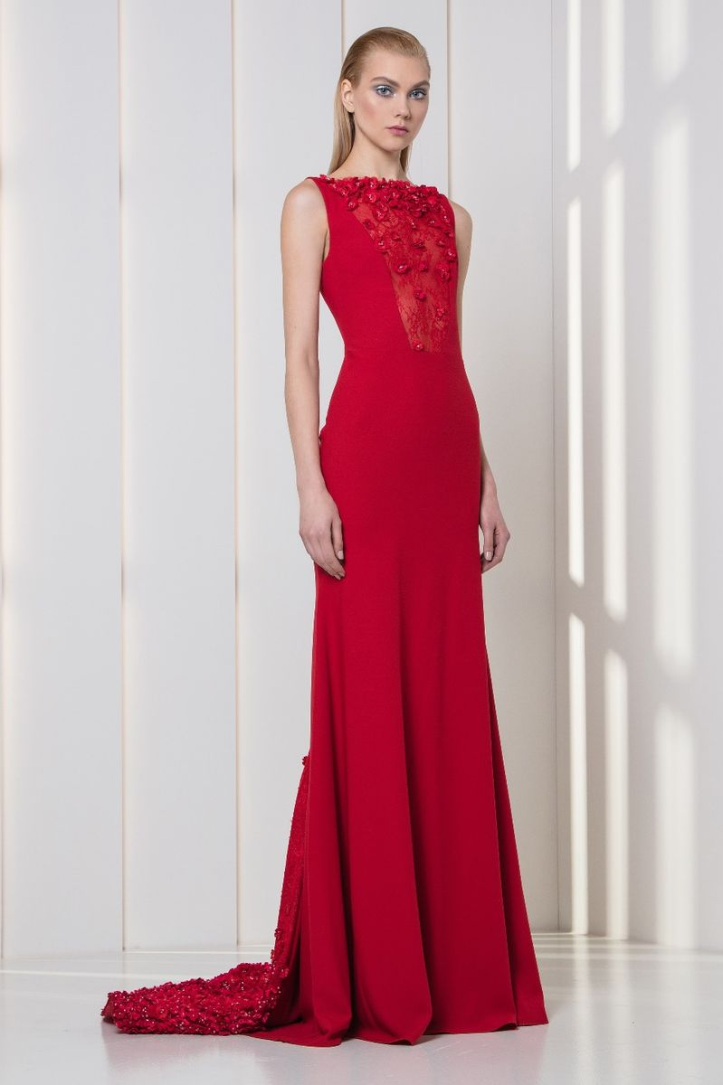 Cherry red crepe dress embellished with pearls and 3D laser-cut flowers embroidery on the lace bodice and train.