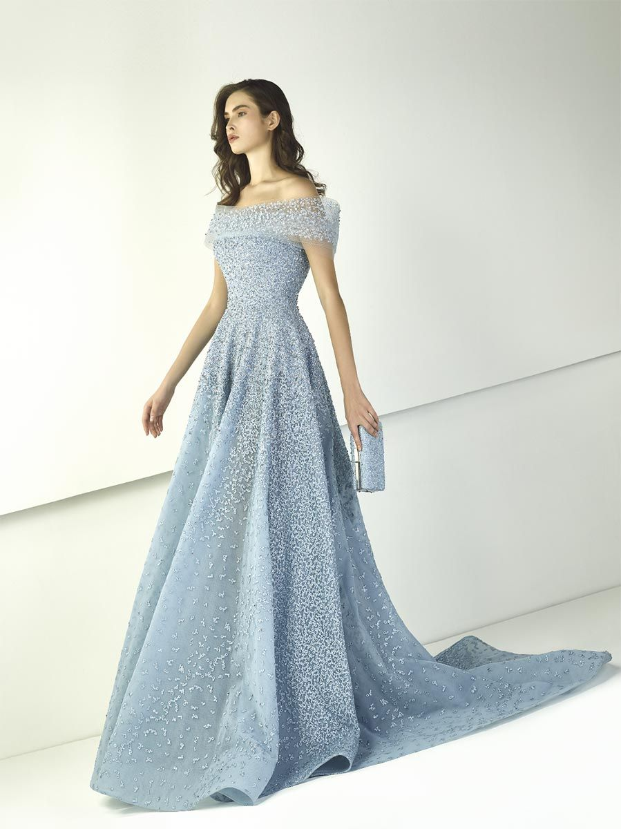 bde20b7cfc06 Silver blue A-line evening dress in embroidered macramé embellished with  blue embroideries.