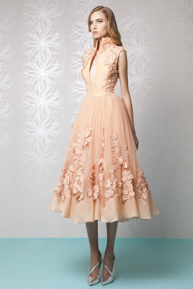 Tea Length Peach Princess Dress In Organza And Embroidered Tulle With A High Collar