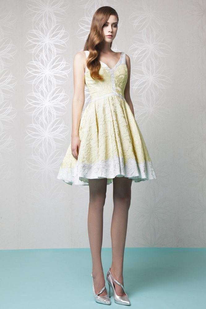 Short Princess V Neckline Gazar Cloqué Dress In Silver And Pastel Yellow With Fl