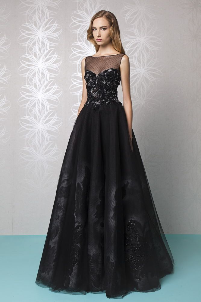 Long A Line Black Dress Made Of Hand Painted Crinoline Embellished With Tulle And