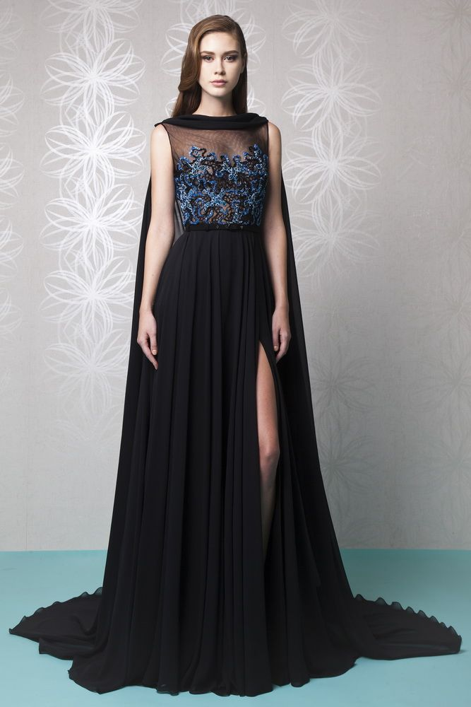 Black Silk Georgette Evening Dress With A Cape And Gathered Skirt Featuring
