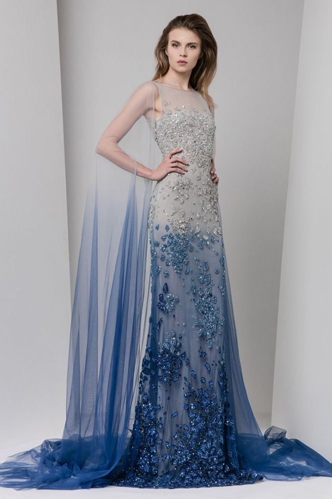 Ombré Tulle Dress Embroidered In Shades Of Silver And Blue With Illusion Bateau Neckline