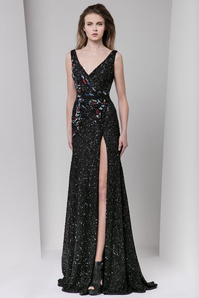 a5eca347f400d Black sequined floor-length wrap dress with V-neckline