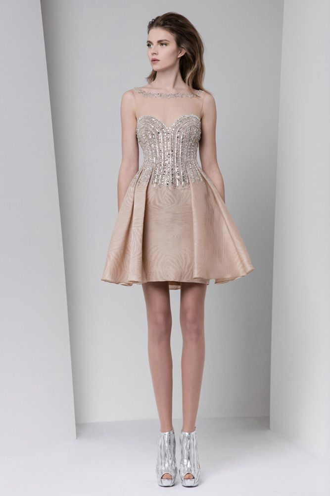 d32be6f4689e5 Blush sweetheart short dress with a two-side panel overskirt in printed  gazar and fully