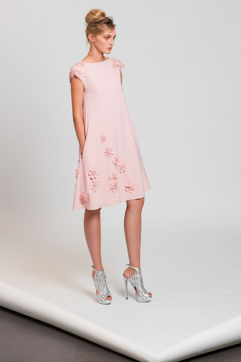 Powder Pink Tail Dress In Silk Moroccan Crepe Embellished With Laser Cut Flower Liques