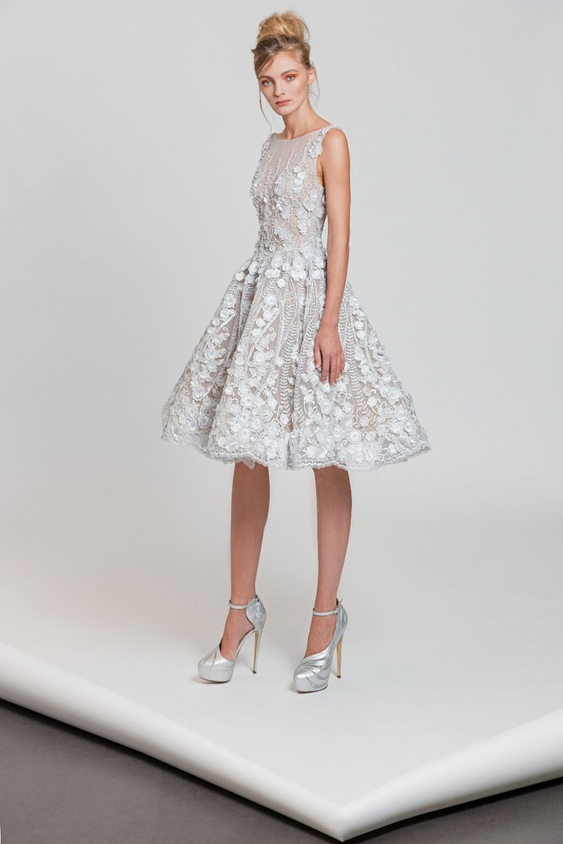 248d5f65e88b Pearl white short dress with bateau neckline in embroidered tulle