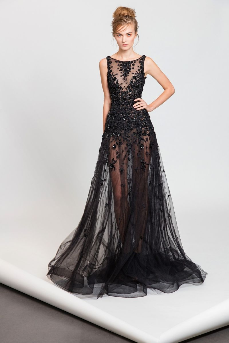 fac718889c94 Black see-through evening dress featuring crystal and silk thread  embroideries.