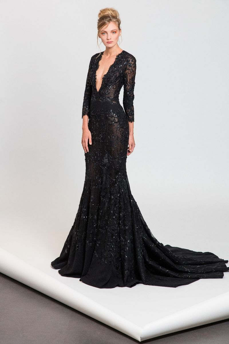 46dfe62a4f6 Black evening dress with deep V neckline and ¾ sleeves in embroidered lace  and Moroccan crepe