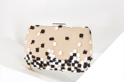 Nude Clutch with Black & White squared embroideries
