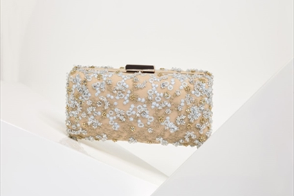 Nude Clutch with light blue embroideries