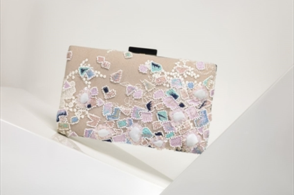 Chalk pink Clutch with colored mosaic embroideries
