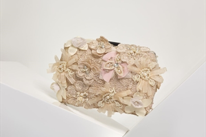 Chalk pink Clutch with flowers appliques