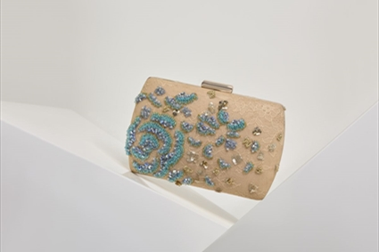 Nude Clutch with aqua embroideries