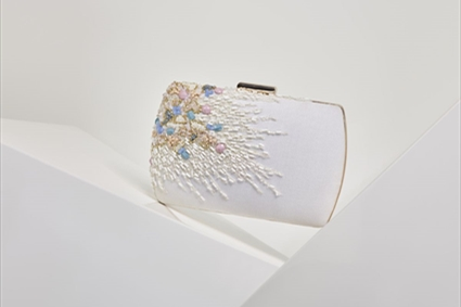 White Embroidered Clutch