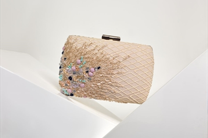 Nude Embroidered Clutch
