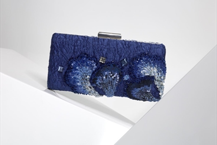 Monaco blue Clutch with silk flowers embroideries