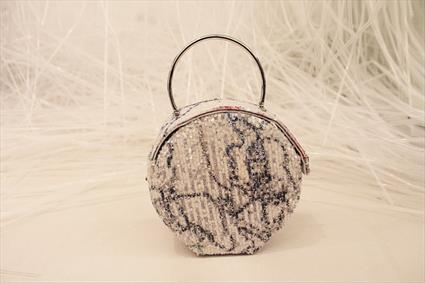 White, Blue & Pink Sequin Bag