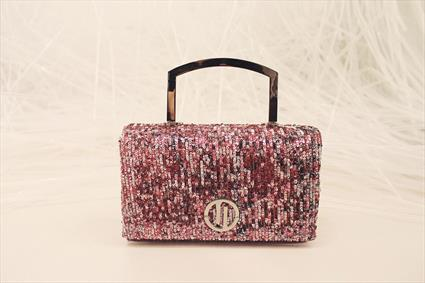 Pink sequin embellished bag
