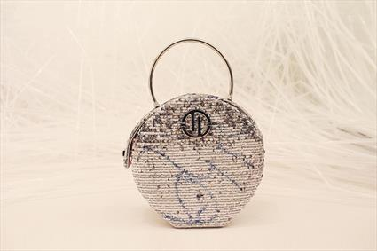 White & Blue Sequin Bag